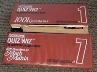 Lot 2 Vintage Coleco Quiz Wiz Cartridge w BOOKS case 7 MATH MANIA 1 1001 TRIVIA