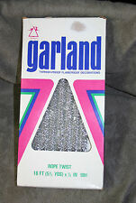 Vintage National Tinsel Mfg Co Silver Rope Twist Garland 16 Ft New Old Stock NOS