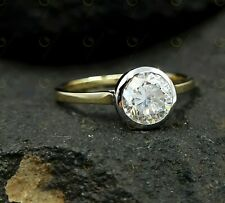1 Ct Solitaire Two Tone Engagement Promise Rings Round Cut Bezel Set 14K Gold