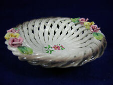 Vintage Capodimonte Porcelain Open Weave Lattice Bowl with Roses Made in Italy