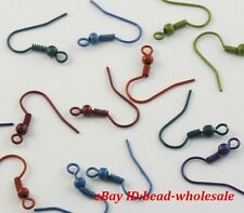 Wholesale 100pcs Coil Wire Metal Earring Hooks Finding Silver Golden 6 colorsnew