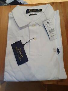 BNWT Men's Ralph Lauren Custom Fit White Long Sleeve Polo Shirt - XL
