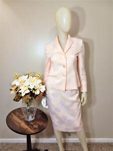 LE SUIT Petite Peach/White Floral Print 2-Piece Skirt Suit-Size 6P