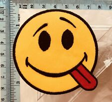 Smiley Face Acid House Tounge Embroidered Iron Sew on Patch Badge N-21