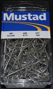 100 Mustad 91715D Size 8/0 Saltwater 90 Degree Jig Hooks Fits Do It Salt Molds