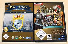 2 PC SPIELE BUNDLE - DIE GILDE 1 & 2 - GOLD EDITION - AUFBAU STRATEGIE