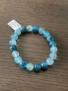"10mm Genuine AAA Blue Rutilated Quartz Beads Stretch Bracelet 7.5"""