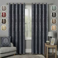Heavy Weight Jacquard Eyelet Ring Top Curtains Pair With 2 Matching Tie Backs