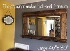 Mirror Large Wooden Rustic Farmhouse Country Mirror + candle shelf Dark Oak