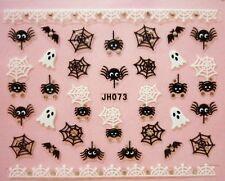 Halloween Nail Art Stickers Transfers Black White Spiders Web Ghost Bats Lace 3A