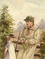 G.P., Divided: Girl with Boy Cutting Turnip – c.1880s watercolour painting