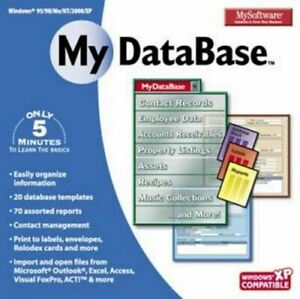 My Software My Database Organize & Report PC Windows XP Vista 7 8 10 New Sealed
