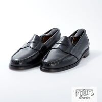 LL BEAN Shoes 9E in Black Leather Full Strap Penny Loafers USA Made x Ansewn