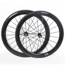 56mm Carbon Tubular Wheelset Front Rear 700C 21mm Road Bike Rims UD Glossy 11s