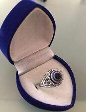 PROTECTION RING Blue Eye silver plated mount BLUE VELVET BOX BRAND NEW SIZE 9.5