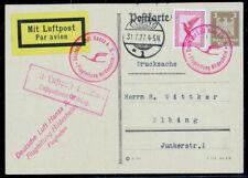 Deutsches Reich, 31.7.1927, Ganzsache, Flugpost, Hildenheim  nach Elbing,  -1073