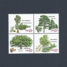 American Trees - Sequoia Pine Oak Birch - Vintage Set of 4 Stamps 39 Years Old!