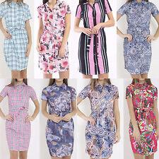 New Womens Ladies Short Sleeve Buttons Up Belt Tie Collar Summer Top Shirt Dress