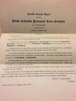 1909, 12th Annual Report B.C. Permanant Loan Vintage Vancouver Canada Paper E79