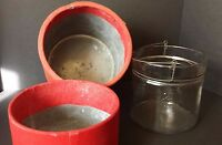 Glass Jar Pail Galvanized Steel Case Handmade Turkish Bangladesh 8 1/2 x 7 1/2""
