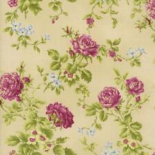 Marianne Elizabeth Harlow Cream Burgundy Mauve Shabby Rose Floral Quilt Fabric