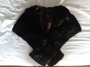 Vintage Real Fur Stole Dark Brown