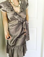REVIEW WOMENS DRESS LINED POLY ELASTANE STRIPED MADE IN AU GREY CREAM MIDI SZ 14