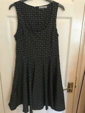 Bershka Collection Navy with diamond pattern Sun Dress size Medium UK 10