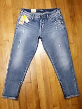 Silver Kenni Girlfriend Skinny Crop Jeans Size 31 L 25 Mid Rise Zippers NWT