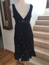 Bebe Black Silk Lace Sequin Spanish SALSA Dress Deep V Keyhole Back Empire S