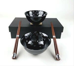 Set of 2 Japanese Porcelain Soup Bowls and Chopsticks Gift Set Black Silver 4689