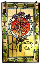 Stained Glass Chloe Lighting Tulips Window Panel 20 X 32 Inches Handcrafted New