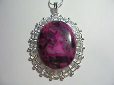 "CRAZY LACE AGATE  NECKLACE 20"" LARGE STONE PINK BLACK"