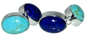 Real Lapis Turquoise Double sided Cufflinks 925 Sterling SILVER Chain Blue Gems