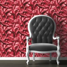Cerise Pink Red Crushed Wallpaper 3D Velvet Silk Effect Scrunched Bold Luxury