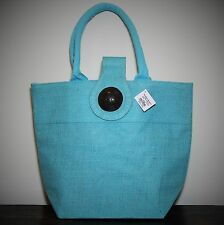 WOMAN'S JUTE HANDBAG BUTTON LIGHT BLUE SUMMER BEACH ROYAL STANDARD TOTE MEDIUM