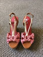Canvas Sandals Striped Heels for Women