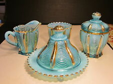 Antique Northwood Blue Opalescent With Gold 6 Piece DRAPERY Pattern Table Set