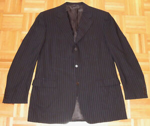 Canali Pinstripe Suit Jacket Blazer 3 Button Brown 100% Wool Italy Barney's 42