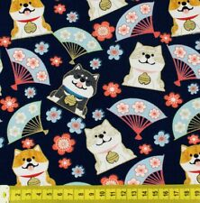 Navy blue Japanese Hachiko dog fabric cotton fat quarter FQ #F0063