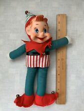 Large Vintage Elf Pixie big blue eyes In red And Green outfit
