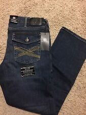 NWT ROCK & REPUBLIC STRAIGHT FIT DIRTY DEEDS JEANS BLUE WASH 34X32 MSRP $88