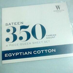 LIGHT BLUE Wamsutta 350 Thread Count 100% Egyptian Cotton Sateen QUEEN Sheet Set