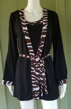 SPIEGEL Black Slinky Twin Set Tank Tie Cardigan Top Jacket Small S Tiger Trim