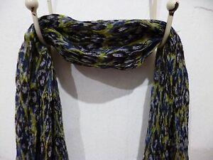 "Nila Rubia Chiffon Scarf Blue Green Geometric Print 90"" Long 26"" Wide CLEARANCE"