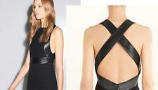 AUTH $2500 Gucci Women Black Silk Leather Dress 42/6
