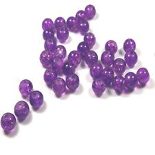 30 Perles Rondes en VERRE Craquelé Violet Mauve 6mm Création de Bijoux