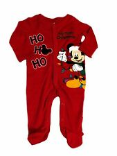 New Disney Mickey Mouse My 1st Christmas Ho Ho Sleeper Footie Boys Red 3 Months