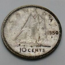 1950 Canada 10 Ten Cents Silver Dime Canadian Circulated Coin F740