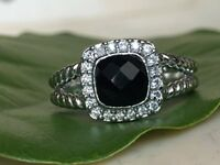 Designer Inspired Sterling Silver Black Onyx & Diamond Petite Albion Ring Size 7